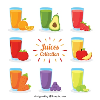 Set of juices with fruits