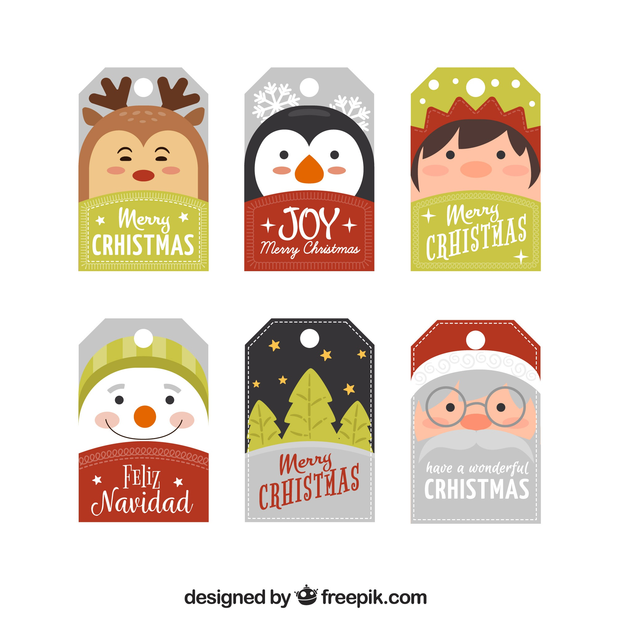 Set of labels with christmas characters