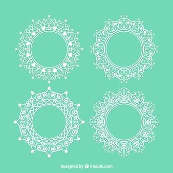 Set of lace vintage round frames