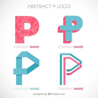 Set of letter p logos