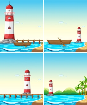 Set of lighthouse from different angle illustration