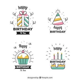 Set of linear birthday stickers