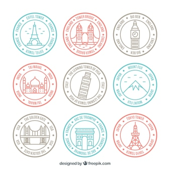 Set of linear city stamps in pastel colors