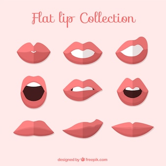 Set of lips in flat design