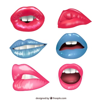 Set of lips with different lipsticks