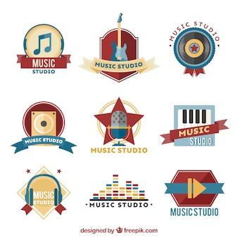 音楽スタジオのためのロゴのセット