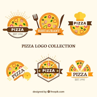 Set of logos for pizzas