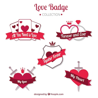 Set of love badges with hearts and ribbons