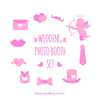 Set of love elements for photo booth