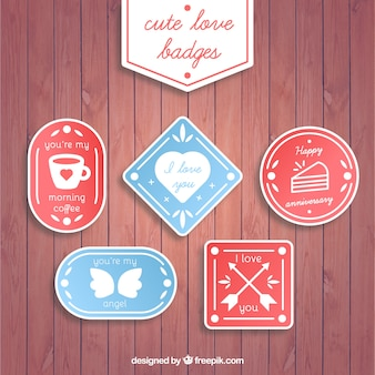 Set of love stickers with messages