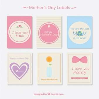 Set of lovely cards for mother's day in pastel tones
