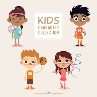 Set of lovely children with sporty elements