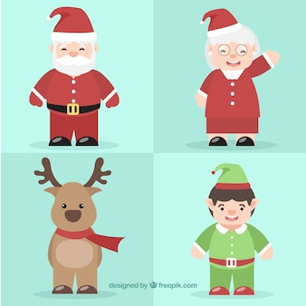 Set of lovely christmas characters and santa claus