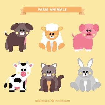 Set of lovely farm animals