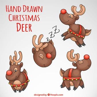 Set of lovely hand drawn reindeer