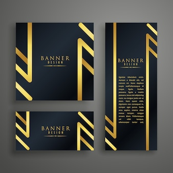 Set of luxury banners in different shapes