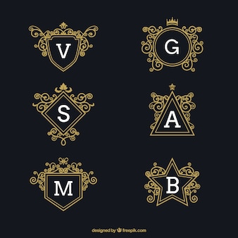 Set of luxury logos with capital letters