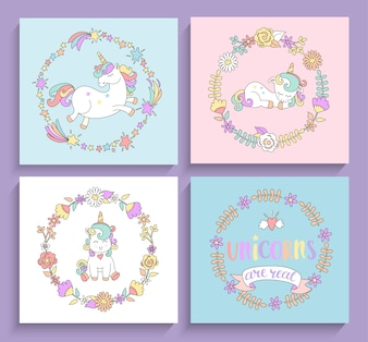 Set of magical unicorns cards with circle frames.