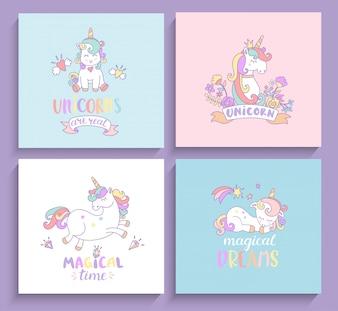 Set of magical unicorns greeting cards.