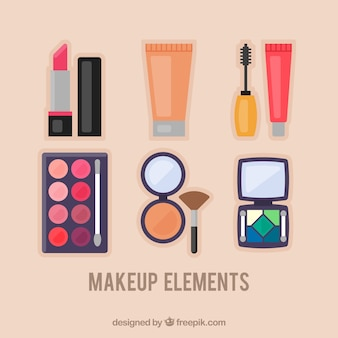 Set of make-up accessories in flat design