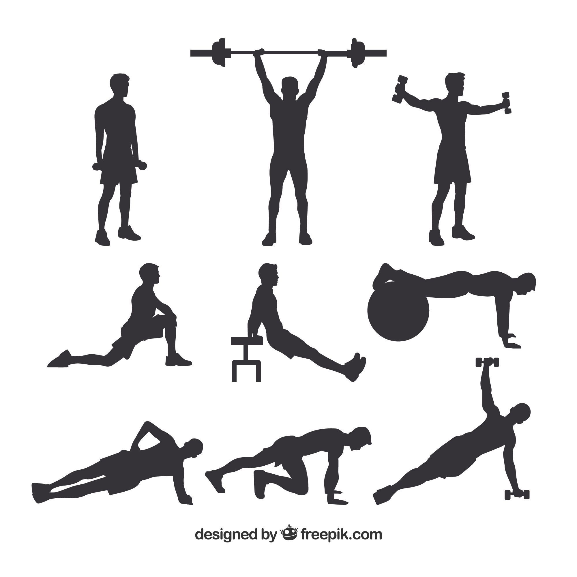 Set of male crossfit silhouettes