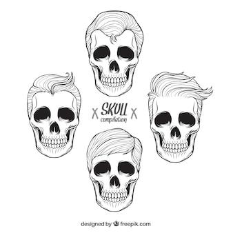 Set of male hand drawn skulls