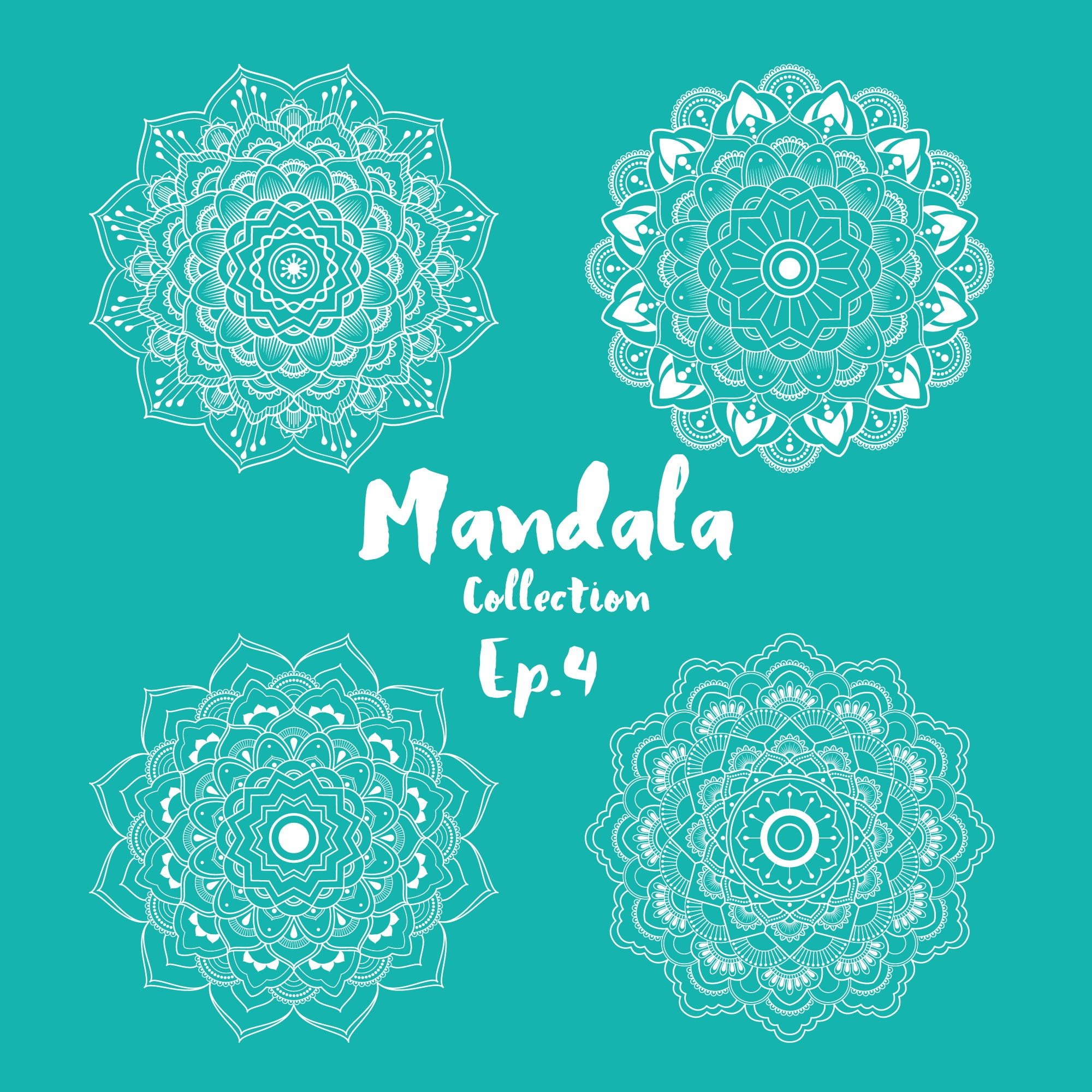 Set of mandala decorative and ornamental design for coloring page, greeting card, invitation, tattoo, yoga and spa symbol