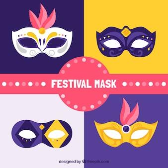 Set of masks in flat design