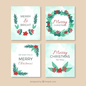 Set of merry christmas cards with hand drawn natural elements