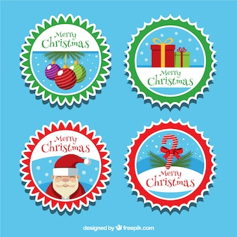 Set of merry christmas stickers in vintage style