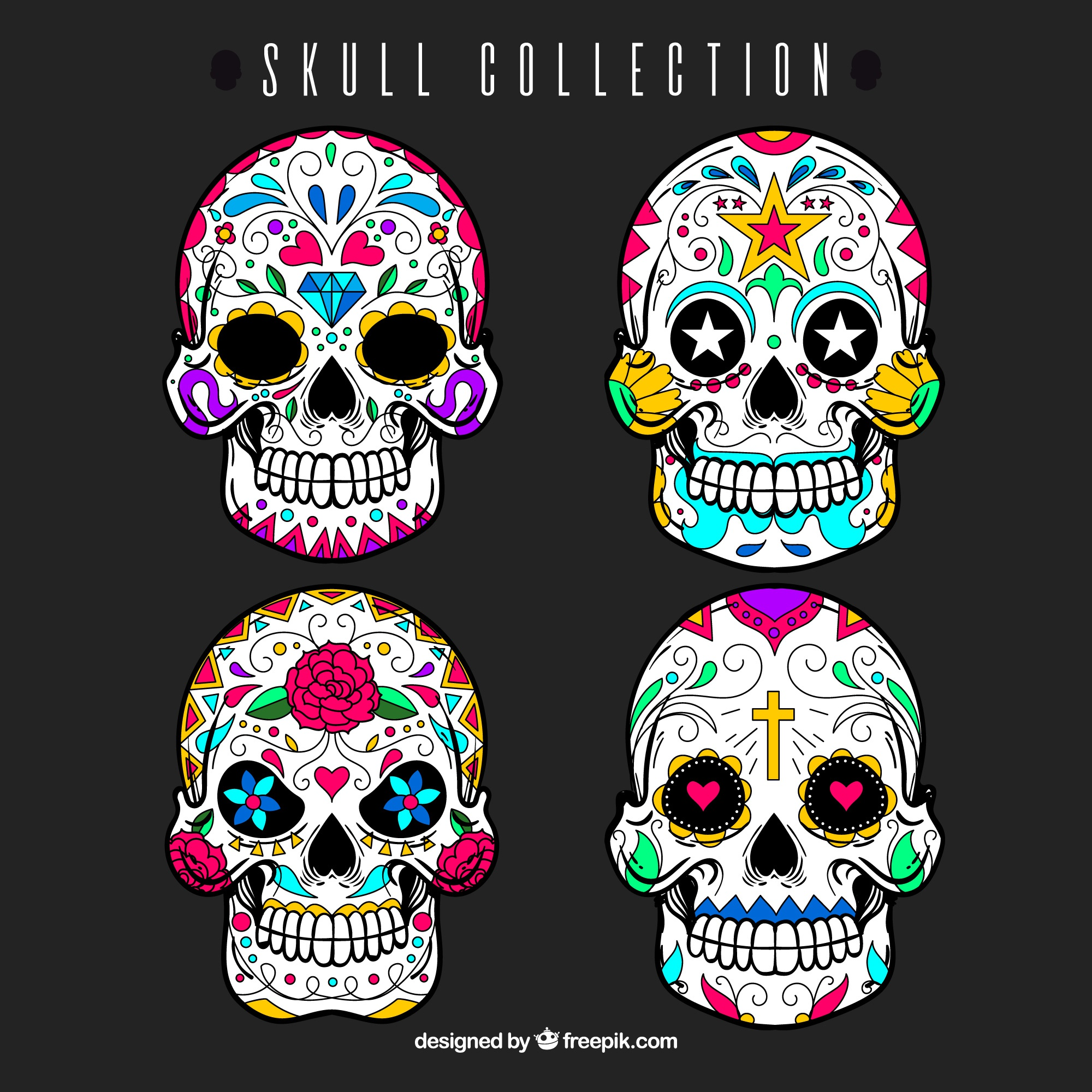 Set of mexican decorative skulls