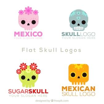 Set of mexican skull logos