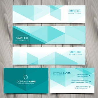 Set of mint polygonal business stationery