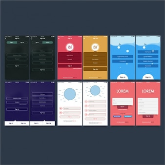 Set of mobile application screens