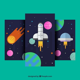 Set of mobile wallpapers with space elements in flat design