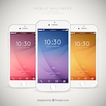Set of mobiles with elegant wallpapers