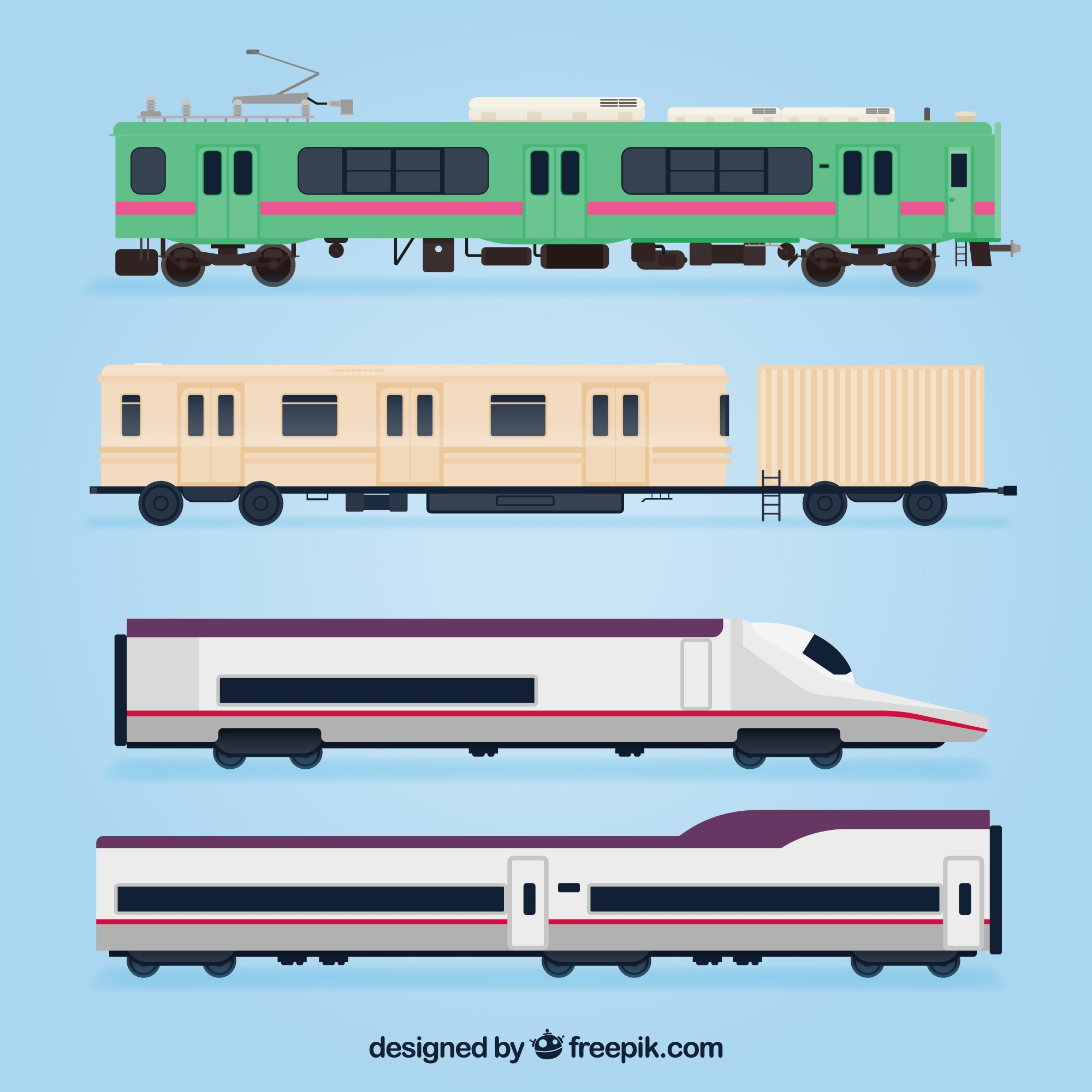 Set of modern and antique trains