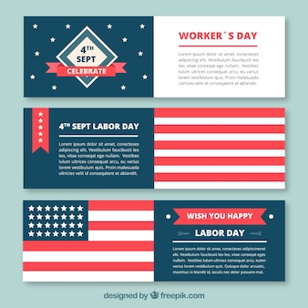 Set of modern and elegant banners for labor day