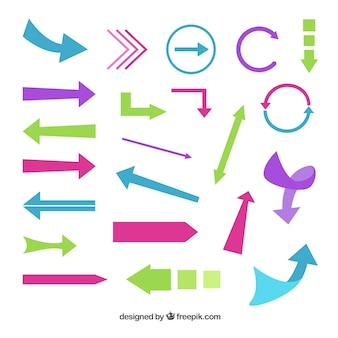 Set of modern colored arrows