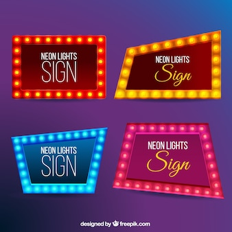 Set of modern neon billboards