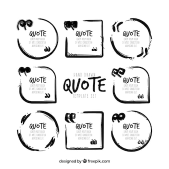 Set of modern quote template in black and white