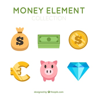 Set of money elements in flat design