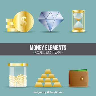 Set of money elements in flat design
