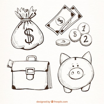 Set of money items in hand-drawn style