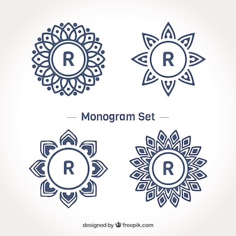 Set of monograms with letter  r