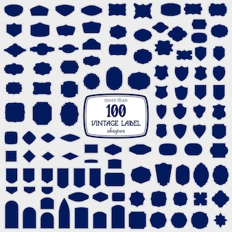 Set of more than 100 label shapes