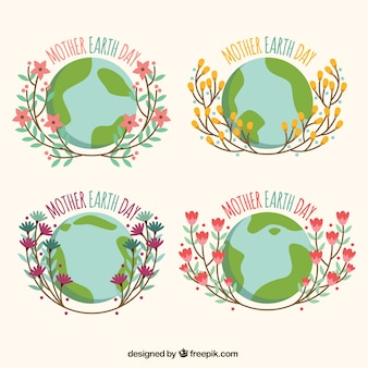 Set of mother earth day stickers with floral elements
