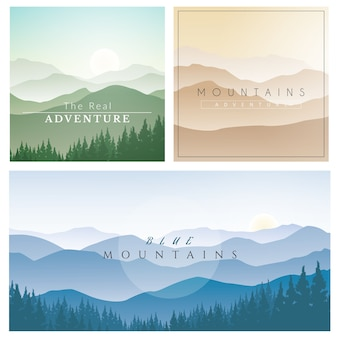 Set of Mountain Landscape, Vector Background with Foggy Mountains