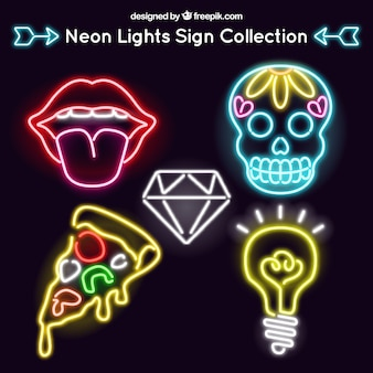 Set of neon signs in modern style
