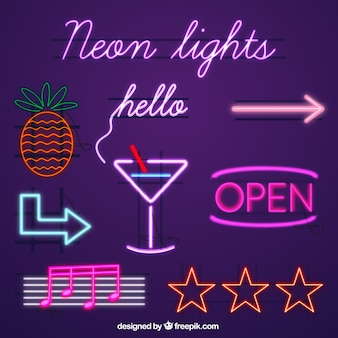 Template with pineapple Vector #0: set of neon signs 23 size=338&ext=